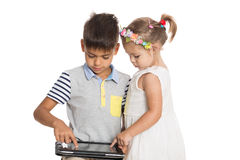 Children use tablet computer Stock Photos