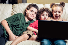 Children using computer royalty free stock photography