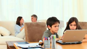 Children using a computer stock video
