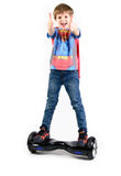 Children using hoverboard, a self-balancing two-wheeled board.  Editorial content Royalty Free Stock Photography