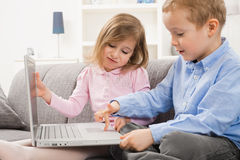 Children using laptop Stock Photos