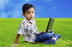 Children are using the Notebook Royalty Free Stock Photography