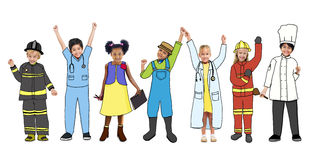 Children with Various Occupations Concepts Stock Images