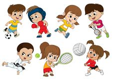 Children of various types of sports, such as soccer, boxing, run stock illustration