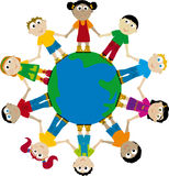 Children (vector). Happy globes kids; african, asian, european Stock Photos