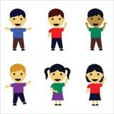 Children Vector. Children cartoon illustration with happy expression Stock Image