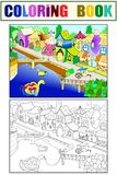 Children color vector fairy city with river. Children vector fairy city with river. Black, white and color line Stock Photography
