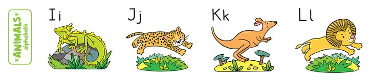 Animals alphabet or ABC. Children vector illustration of funny iguana, jaguar, kangaroo and lion. Animals zoo alphabet or ABC stock illustration