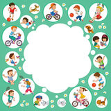 Children. Vector illustration. Funny kids playing. Background Illustration with place for text vector illustration