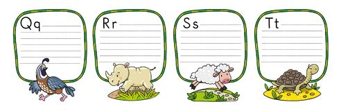 Animals alphabet or ABC. Children vector illustration of funny quail, rhino, sheep and tiger. Animals zoo alphabet or ABC. Including frame with dotted lines and vector illustration