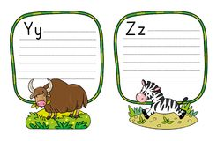 Animals alphabet or ABC. Children vector illustration of funny yak and zebra. Animals zoo alphabet or ABC. Including frame with dotted lines and place for royalty free illustration