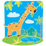 Children vector illustration of giraffe Royalty Free Stock Photography