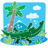 Children vector illustration of little crocodile Royalty Free Stock Photos