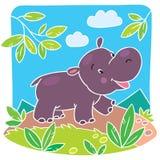 Children vector illustration of little hippo. Children vector illustration of little fun hippo running down the road Vector Illustration