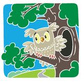 Children vector illustration of little owl. Children vector illustration of little funny owl sitting on the branch of an oak tree royalty free illustration