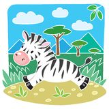 Children vector illustration of Little Zebra Royalty Free Stock Photo