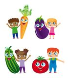 Children and vegetables Stock Photos