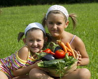 Children and Vegetables Stock Image