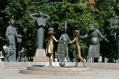 Children - victims of adult vices - sculptural composition M. M. Shemyakin in Moscow. Stock Photo