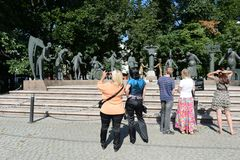 Children - victims of adult vices - sculptural composition M. M. Shemyakin in Moscow. Royalty Free Stock Photography