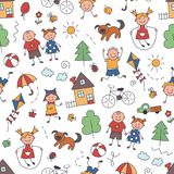 Children in the village. Seamless pattern in doodle and cartoon style royalty free illustration