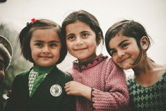 Children in a village in the south of Skardu, Pakistan Royalty Free Stock Photo