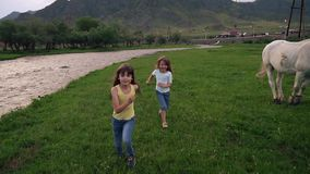 Children in the village. two little sisters running around in the meadow next to the river. slow motion. Children run across the field. two little girls running stock video