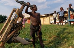Children in a village in Uganda. Royalty Free Stock Images