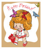 Children vintage card Royalty Free Stock Image