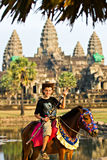 Children visiting Angkor Wat a Royalty Free Stock Photos