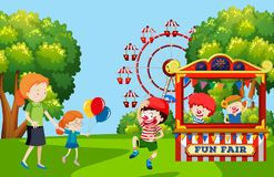 Children visiting fun fair. Illustration stock illustration
