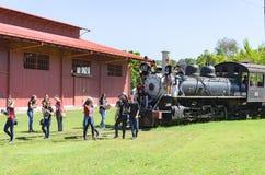 Children visiting the open air museum Estrada de Ferro Madeira-M Stock Image