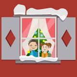 Children waiting a miracle. There are children looks throught the window. They are wants a miracle. This is a night before christmas. And children waits a Santa stock illustration