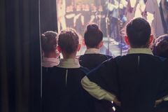 Children are waiting for their performance stock photos