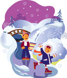 Children on walk. Two children the rivers going for a drive on ice Royalty Free Stock Photography