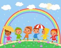 Children walk on a beautiful rainy day Royalty Free Stock Photography