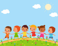 Children walk on a beautiful spring day Royalty Free Stock Photo