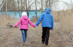 children for a walk Royalty Free Stock Image