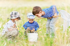 Children on walk on a meadow Stock Images