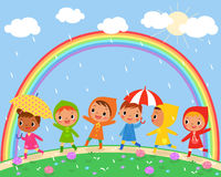 Children Walk On A Beautiful Rainy Day Royalty Free Stock Photography