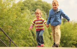 Children walk outdoor Stock Image