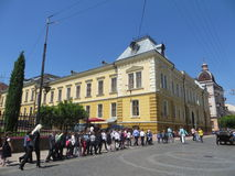 Children walk. Ukraine.in the city of Chernivtsi. Ukraine. Children walk along the main street Royalty Free Stock Photo