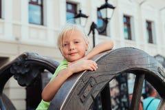 The children. Children walking around the city, the sun shines Royalty Free Stock Photos