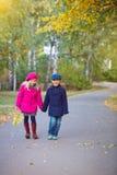 Children walking in beautiful autumn park on warm sunny fall day. Happy children walking in beautiful autumn park on warm sunny fall day Royalty Free Stock Photo