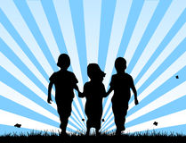 Children walking on a field. Vector illustration of three children walking together in a grass field completely free and happy Stock Photos