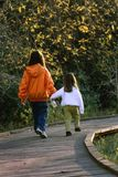 Children walking hand in hand Royalty Free Stock Images