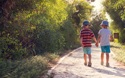 Children walking holding hands Royalty Free Stock Images