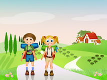Children walking in the mountains Stock Photo