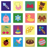 Children wallpaper with icons Stock Photography