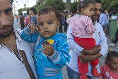 Children war refugees. Kos island is located just 4 kilometers from the Turkish coast, and many refugees come in an in boats. KOS, GREECE - SEP 28, 2015 Royalty Free Stock Photos